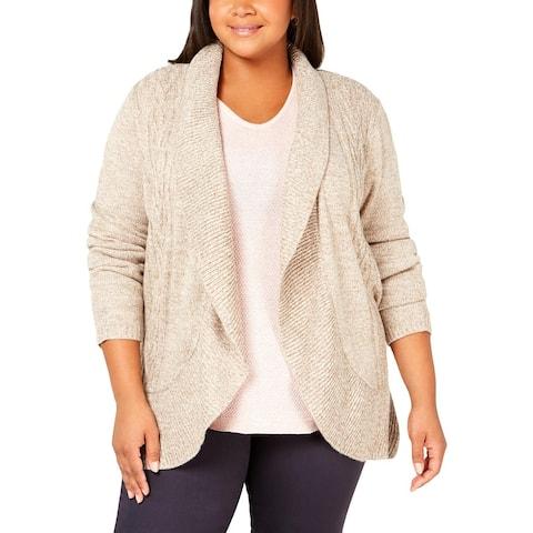 Karen Scott Womens Plus Cardigan Sweater Cocoon Open Front - 0X