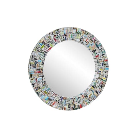 """Large Round Mirror w Colorful Abstract Art Magazine Frame 38"""" - Multi - 38 x 2 x 47Round"""