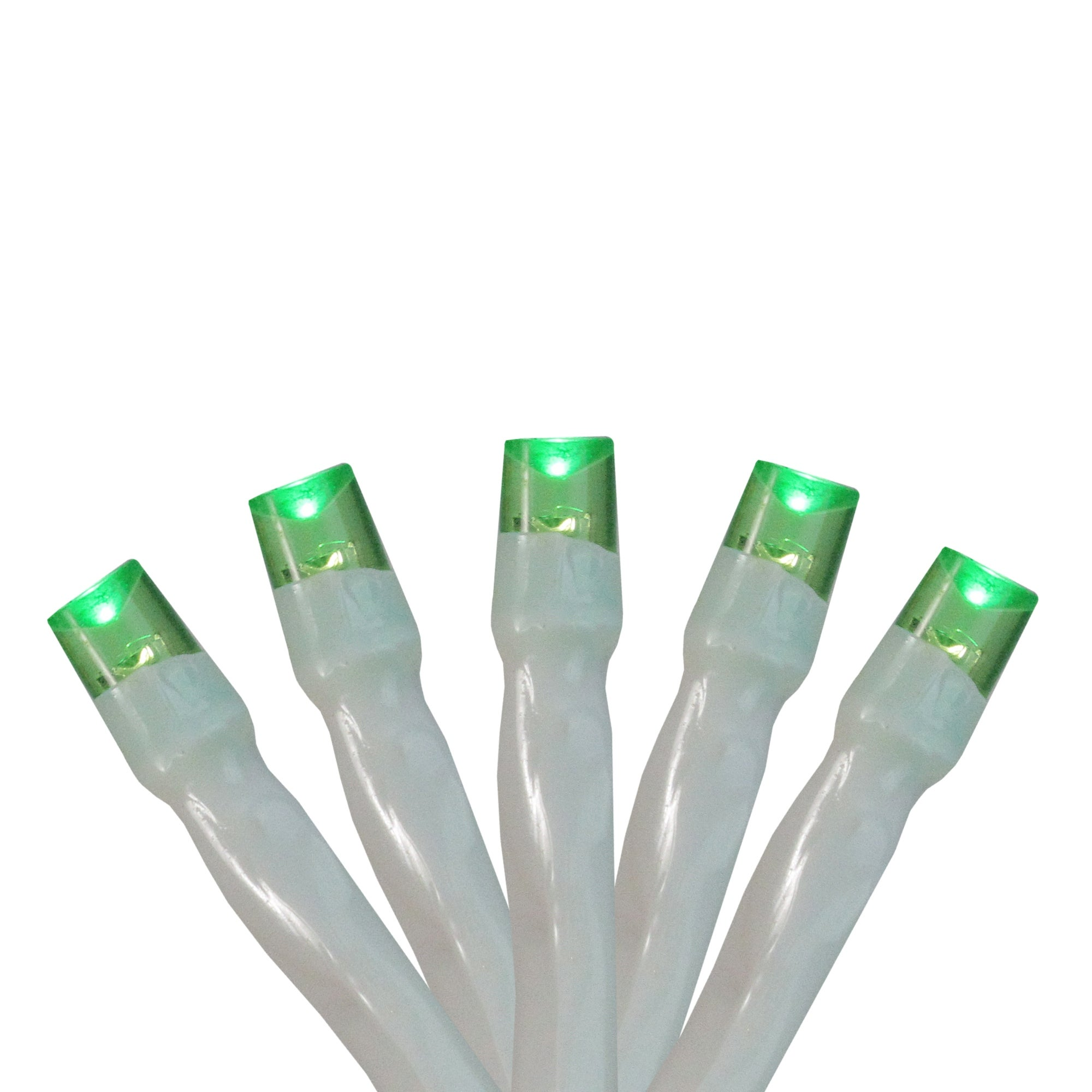 Set of 20 Battery Operated Green LED Wide Angle Christmas Lights - White Wire - N/A