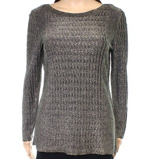 Nic + Zoe Gold Womens Medium M Rib Metallic Pullover Knit Sweater
