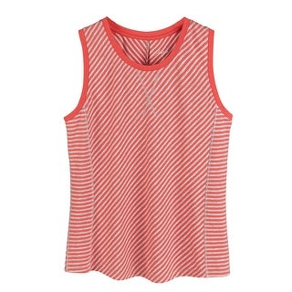 Women's Tank Top - Bias Stitched Slim Cut Diagonal Stripes - Coral