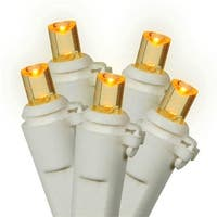 LED Amber Wide Angle Christmas Lights - White Wire, Set Of 100