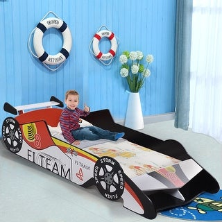 Gymax Kids Toddler Bed Race Car Children Bedroom Fun Play Boys and Girls Furniture - white+ black+ red