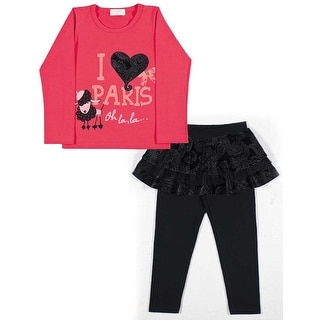 Toddler Girl Outfit Long Sleeve Shirt and Skirt Leggings Pulla Bulla 1-3 Years
