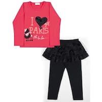 Toddler Girl Outfit Long Sleeve Shirt and Skirt Leggings Pulla Bulla 1-3 Years