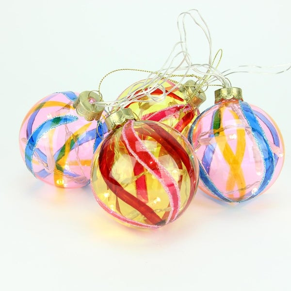 Set of 4 Battery Operated Pink and Yellow Swirl Glass Ball LED Lighted Christmas Ornaments - BLue