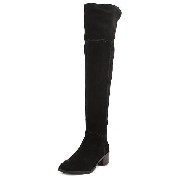 Coach Lucia Women Round Toe Suede Black Over the Knee Boot