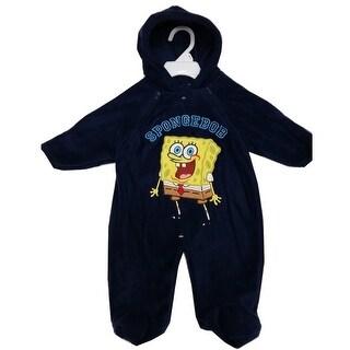 Nickelodeon Baby Boys Navy Sponge Bob Applique Double Zipper Coverall 3-9M