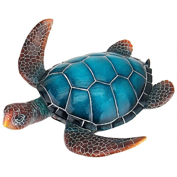 "14"" Large Sea turtle Hand Painted Outdoor Garden Statue - N/A"