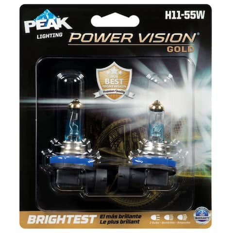 Peak H11-55WPVG-2BPP Power Vision Halogen Automotive Bulbs, 13.2 Volt