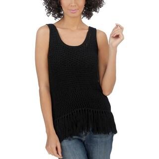 Lucky Brand Womens Tank Top Sweater Open Stitch Fringe