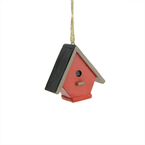 """2.25"""" Red and Black Steep Roof Birdhouse Christmas Ornament"""