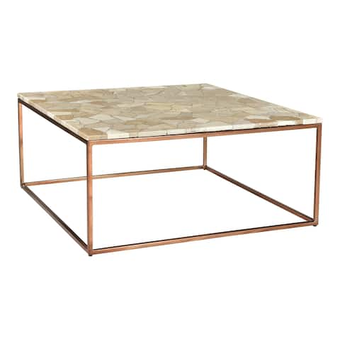Aurelle Home Modern Molina Marble Top Coffee Table