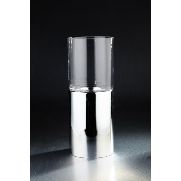 "21.5"" Clear and Silver Cylindrical Hand Blown Glass Vase - N/A"