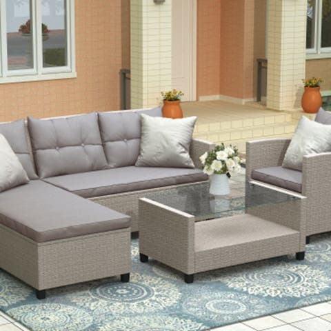 U_STYLE Outdoor, Patio Furniture Sets, 4 Piece Sectional Sofa