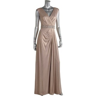 Aidan Mattox Womens Shimmer Embellished Evening Dress