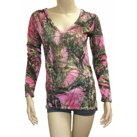 Women's V-Neck Longs Sleeve Camo Shirt Authentic True Timber Top Hunting