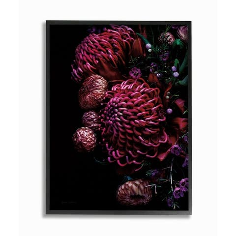 Stupell Industries Detailed Bouquet Tropical Flowers Red Pink Photograph Framed Wall Art