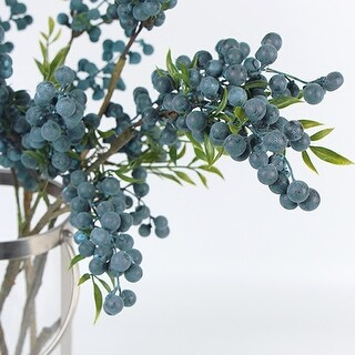 """G Home Collection Luxury Artificial Multi Berry Stem in Blue 35"""" Tall"""