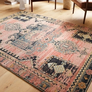 Link to Alexander Home Luxe Rose Antiqued Distressed Area Rug Similar Items in Rugs