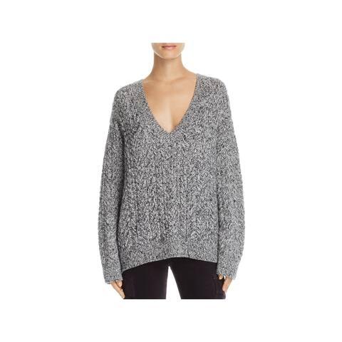 Vince Womens V-Neck Sweater Wool Blend Long Sleeve