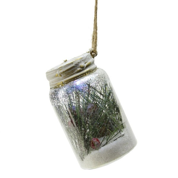 """Fox with Pine Cones and Red Berries in a Jar Color Changing LED Christmas Ornament 4"""""""