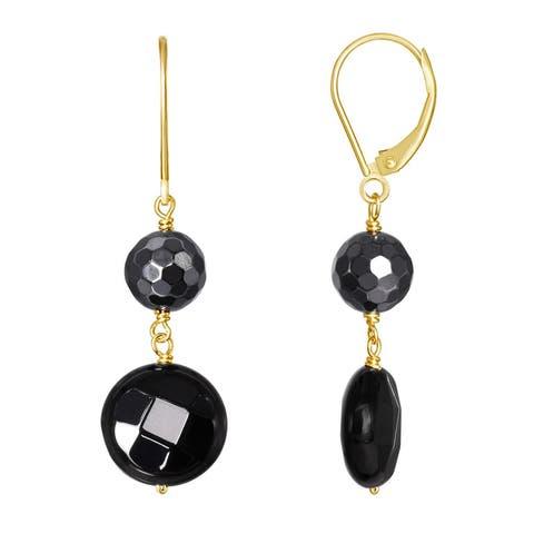 14K Hematite Black Onyx Leverback Earring