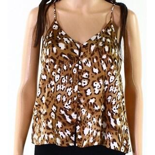 Lush Brown Women's Size XS Animal-Print Button Down Cami Top