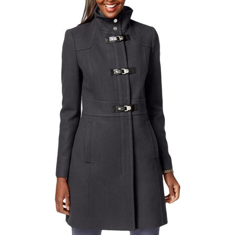 Kenneth Cole New York Womens Toggle Coat Winter Wool Blend