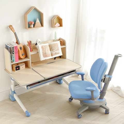 Ergonomic Wood Kids Study Desk Drafting Table, Computer Station