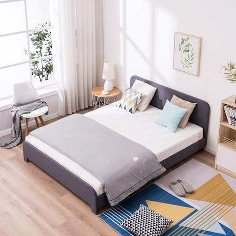 Upholstered Platform Bed Frame Soft Bed with Curved Corners