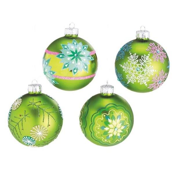 "Set of 4 Dazzling Green Snowflake Design Glass Ball Christmas Ornaments 3.5"""