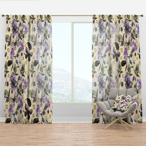 Designart 'Butterflies and Flowers' Farmhouse Curtain Panel