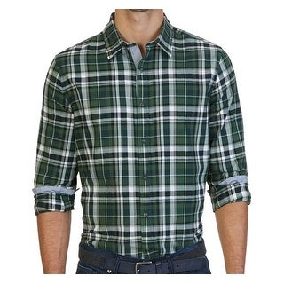 Nautica NEW Green Mens Size Large L Button Down Plaid Printed Shirt