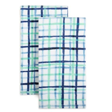 "Fiesta Watercolor Plaid Kitchen Towel Set, 2 Piece - 16""x28"""