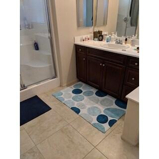 Bath Rug Cotton Non-Skid Backing Multicolor Pebble Stone - 1'8 x 2'10