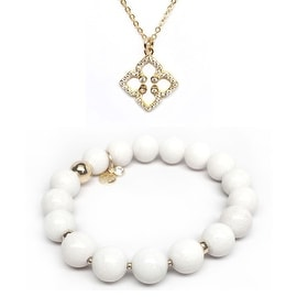 White Jade Bracelet & CZ Clover Gold Charm Necklace Set