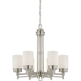 Nuvo Lighting 60/4705 Wright Six Light Chandelier with Satin White Glass