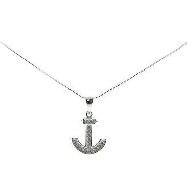 925 Sterling Silver Anchor Pendant with Cubic Zirconia and Italian Made 925 Sterling Silver Box Chain