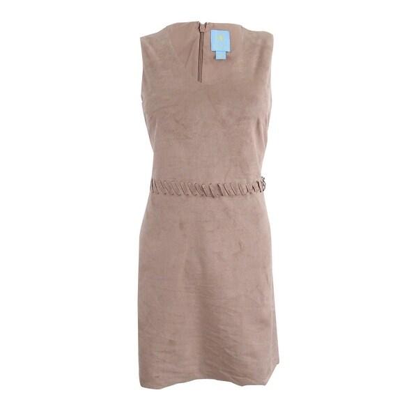0523170215b Shop CeCe Women s Jewel V-Neck Faux-Suede Dress - Light Truffle - On Sale -  Free Shipping Today - Overstock - 20616130