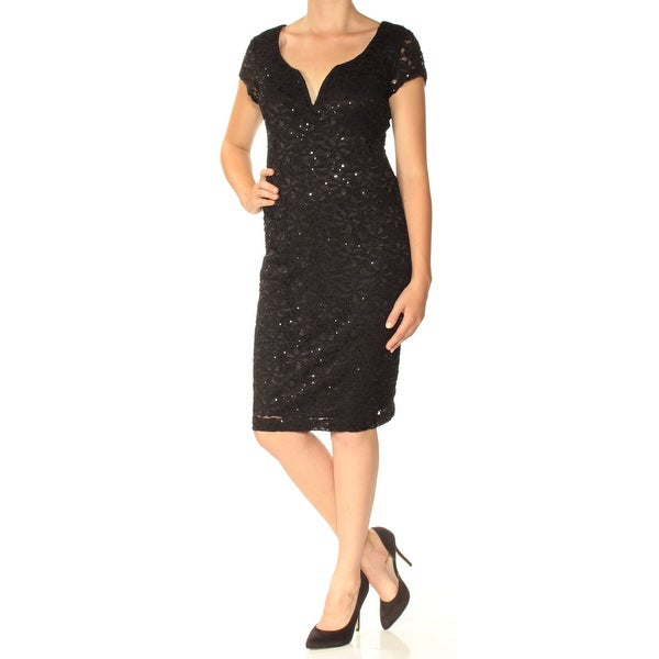 Shop Connected Womens Black Lace Cap Sleeve V Neck Knee Length