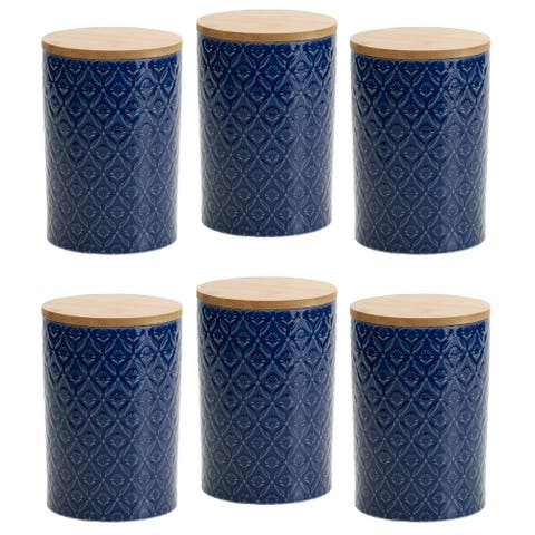 Pfaltzgraff Blue Floral 6.5IN Canister with Bamboo Lid (Set of 6)