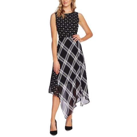Vince Camuto Womens Midi Dress Windowpane Printed - Rich Black