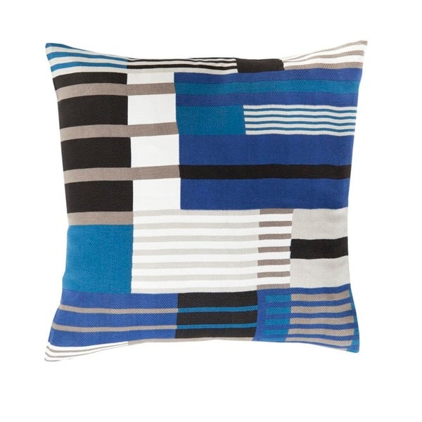 """22"""" Jay and Sapphire Blue with Dove White Woven Decorative Throw Pillow"""