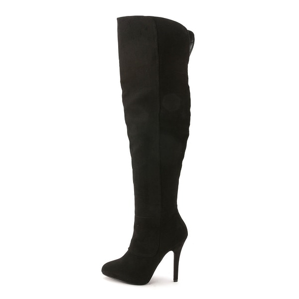 Nina Womens Keisha Suede Pointed Toe Over Knee Platform Boots
