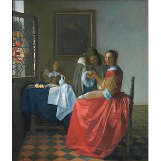 Easy Art Prints Johannes Vermeer's 'The Girl with a Wine Glass' Premium Canvas Art