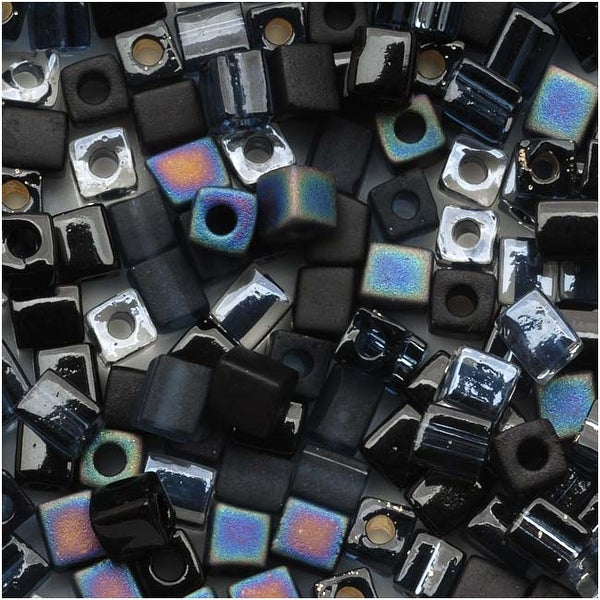 Miyuki 4mm Glass Cube Bead Mix Black Medley 10 Grams