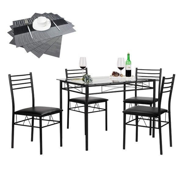 VECELO Dining Table Set, Glass Table with 4 Chairs Metal Kitchen Room Furniture 5 Pcs - Black