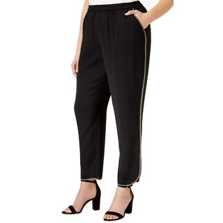 Nine West Black Loden-Stripe Women's Size 14W Plus Casual Pants Stretch