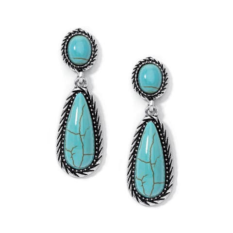Silver Plated Simulated Turquoise Oval Pear Earrings